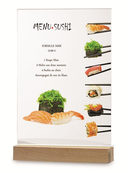porte menu socle bois